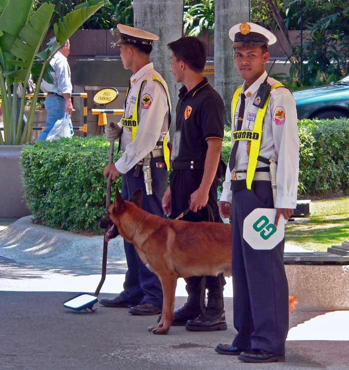 Security Guards at the Shangrila Hotel In Makati Philippines.
