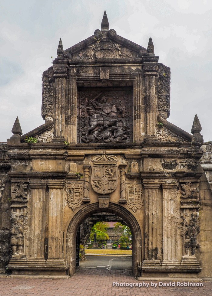 Intriicately eengraved Entry way to Fort Santiago, Intramuros, the walled city of manila.